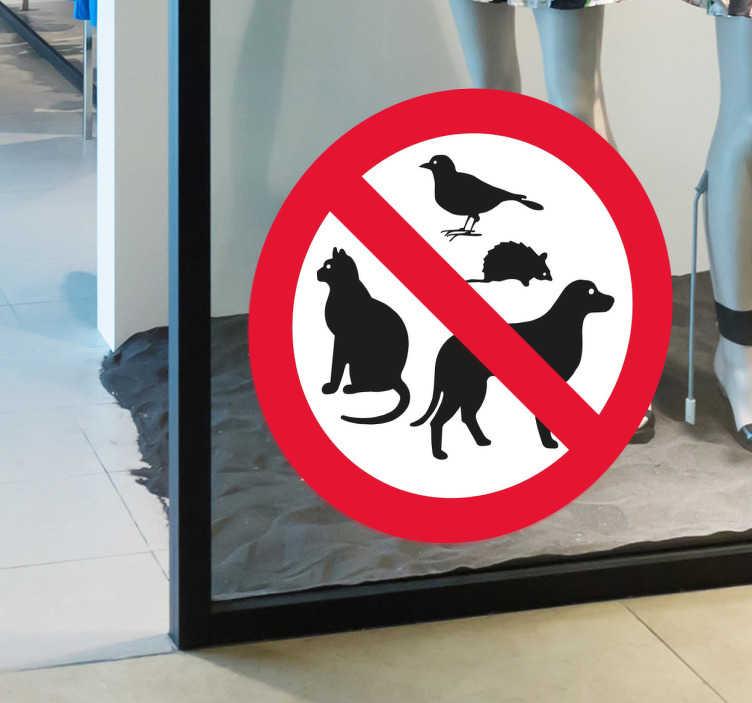 TenStickers. Naklejka Zakaz zwierzętom. Naklejka prezentująca zakaz wprowadzania różnych zwierząt takich jak psy,koty czy ptaki.