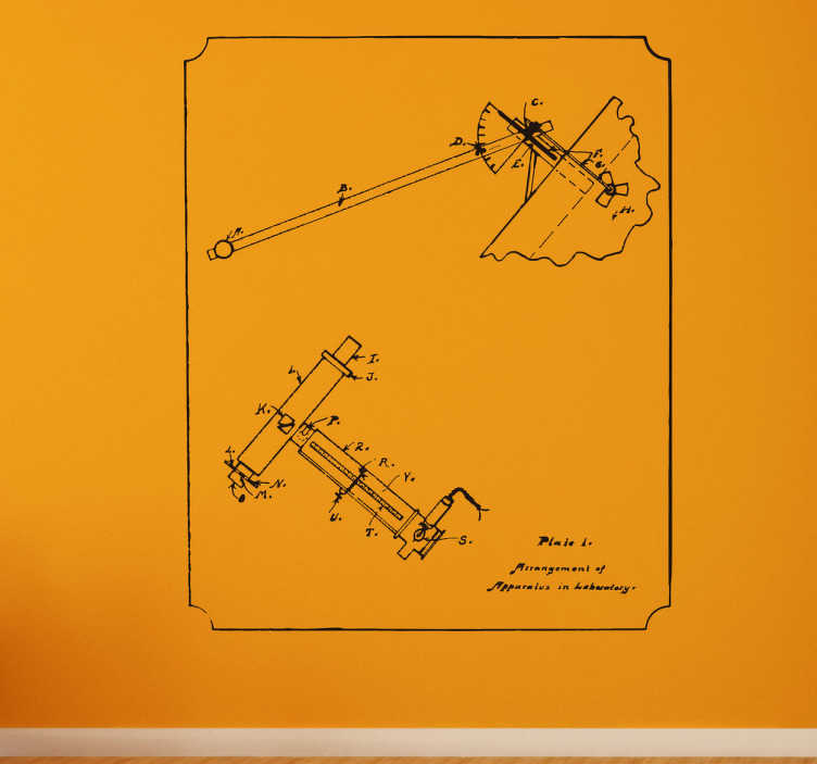 TenVinilo. Vinilo ingeniería plano vintage. Vinilo decorativo técnico con la ilustración de un plano técnico antiguo con sus cotas. Mural para habitación u oficina.