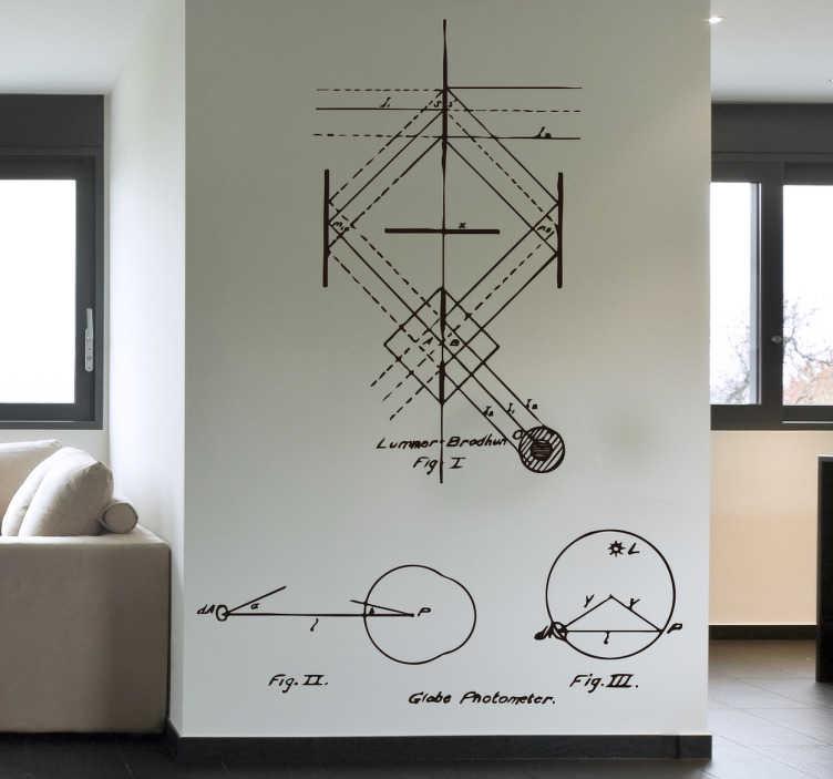 TenStickers. Wandtattoo Physiker Zeichnung. Stilvolles Wandtattoo einer antiken physischer Berechnung zum Photonenschuss.