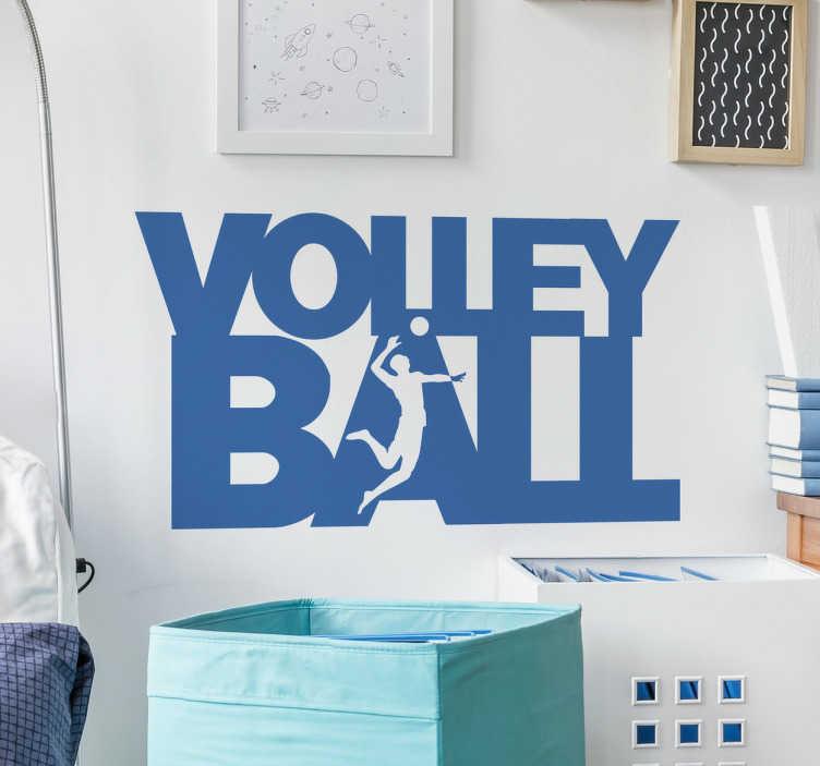 TenStickers. Naklejka napis Volleyball. Dekoracja przedstawiająca tekst 'VOLLEYBALL' w którym został umieszczony siatkarz w ataku.