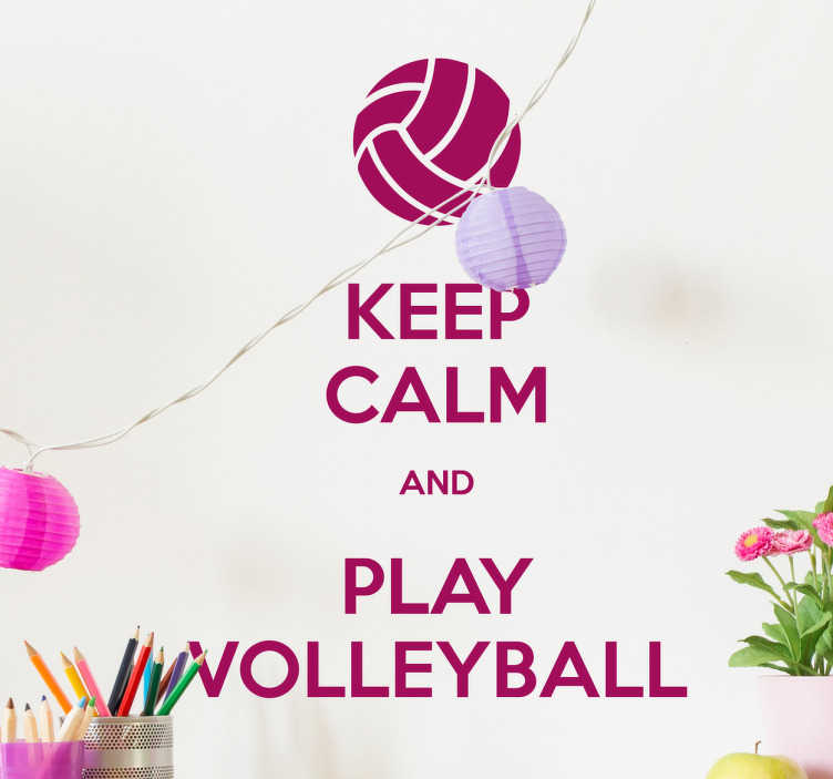 "TenVinilo. Vinilo Keep calm volleyball texto. Vinilos decorativos con la famosa y tan de moda frase ""Keep calm"" con el texto ""and Play Volleyball"" junto a un icono de la pelota de este deporte."