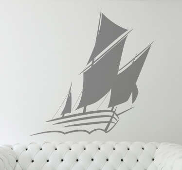 Sticker mural voilier monochrome