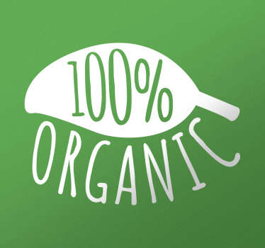 "This simple and original decorative wall sticker features the text ""100% Organic"" in the form of a leaf."