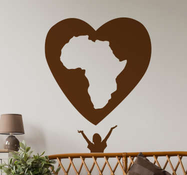Decorative location wall art decal of an African map in a love heart shape. . It is available in different colours and size options.