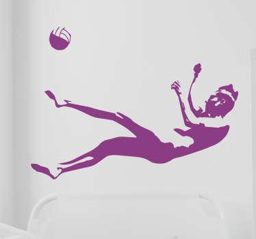Muursticker met een volleybal speler die afhankelijk van hoe je hem ophangt, of naar de bal duikt of hem juist over het net smasht.