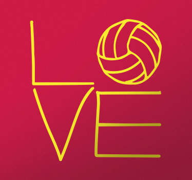 Aufkleber Love Volleyball – Wenn Sie gern Volleyball spielen oder jemanden kennen der diesen Sport liebt haben wir einen tollen Wandsticker für Sie!