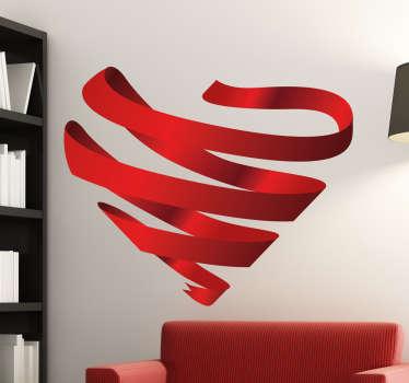 Wandtattoo 3D Herz Bänder