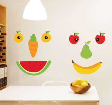 This decorative wall sticker featuring faces made out of various fruits and vegetables is ideal for creating a healthy environment in any kitchen!