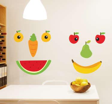 Muursticker fruit gezichtjes