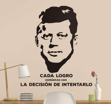 Vinilo retrato y cita de John F Kennedy