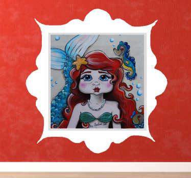 Sticker d'un tableau représentant la petite sirène avec un pélican entouré d'un nuage. Il est idéal pour décorer la chambre de votre enfant