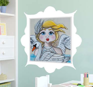 Vinilo infantil ilustración cuento cisne