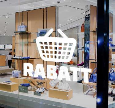 Sie haben attraktive Sonderangebote? Dann stellen Sie mit diesem Schaufensteraufkleber Einkaufskorb Rabatt sicher, dass Ihre Kunden informiert sind!
