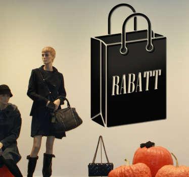 Sie haben attraktive Sonderangebote? Dann stellen Sie mit diesem Schaufensteraufkleber Rabatt Einkaufstüte sicher, dass Ihre Kunden informiert sind!