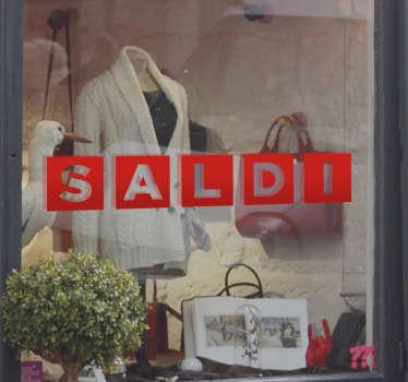 Vetrofania Saldi Lettere per decorare il tuo shop in modo elegante, ma originale ed attirare nuovi clienti.