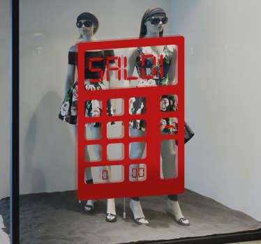 Vetrofania saldi Calcolatrice creata per decorare le vetrine del tuo shop in modo divertente e originale.