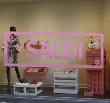 """Vetrofania Saldi con un segnale stradale e la scritta """"Saldi"""" ben visibile, per dare un tocco unico al tuo shop per la prossima stagione di sconti."""