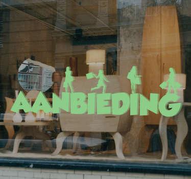 Muursticker Aanbieding shoppende vrouwen, een mooie wanddecoratie voor tijdens het uitverkoop seizoen.