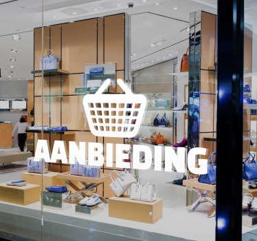 Muursticker aanbieding winkelmand, op deze wanddecoratie is een winkelmandje te zien met daaronder het woord aanbieding, mooi voor promoties.