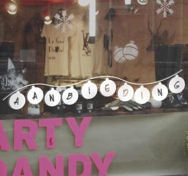 Muursticker kerstballen aanbieding
