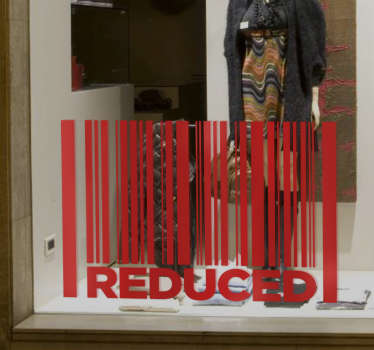 Let your customers know that the prices of the products you offer are reduced, with this bar-code window shop sticker.