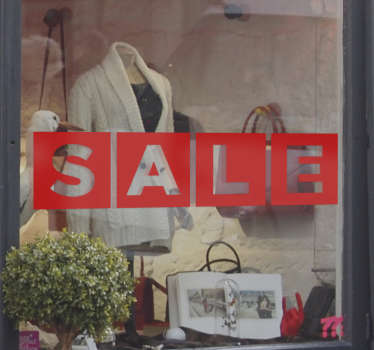 "This window shop sticker consists of the word ""sale"" written in block letters. +10,000 satisfied customers. High quality."