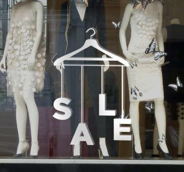 Schaufensteraufkleber Sale Kleiderbügel