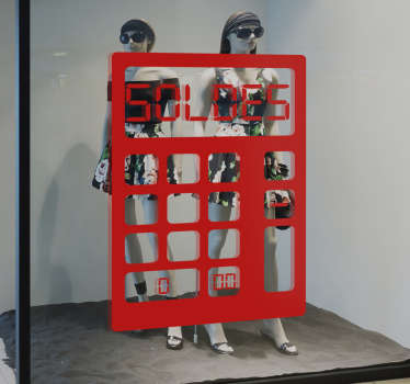 """Un adhésif soldes pour vitrines représentant une calculette avec le mot """"soldes"""", applicable sur toutes surfaces. Application Facile."""