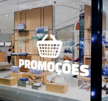 Autocolante promoções com o desenho de um cesto de compras, ideal para colocar na montra do seu negócio.