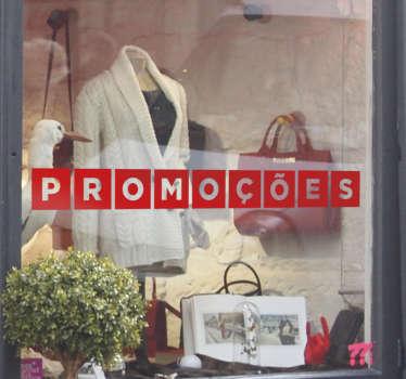 Adesivo promoções com as letras da palavra promoções em quadrados. Vinil autocolante ideal para montras de lojas. 50 cores disponíveis.