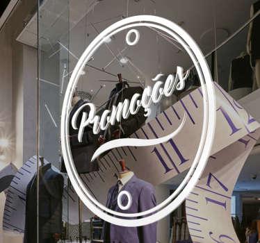 Autocolante promoções com a palavra dentro de um círculo. Sticker ideal para montras de lojas e estabelecimentos comerciais.