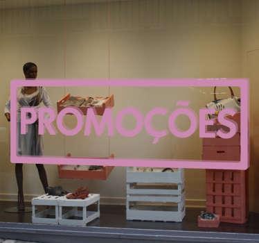 Adesivo promoções com a palavra dentro de um rectângulo, ideal para decorares a montra do teu estabelecimento ou loja.