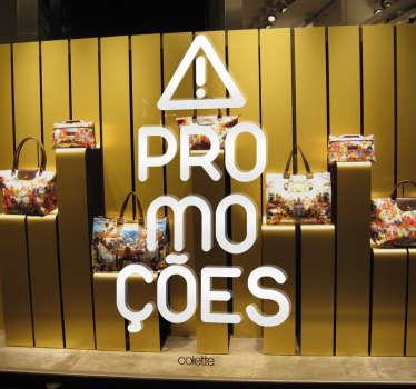 Autocolante promoções warning