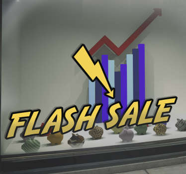 "This decorative sticker perfect for businesses features a lightening bolt alongside the yellow text ""flash sale""."