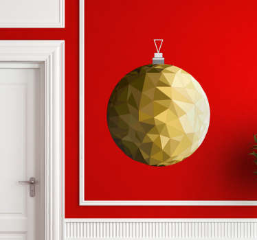 Christmas vinyl decal design of a golden ball ornamental decoration. We have it in any size required and it is self adhesive.