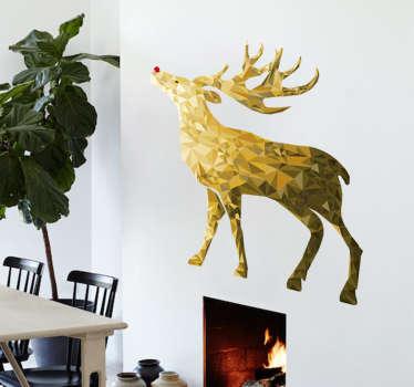 Adesivo natalizio renna oro