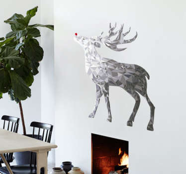Christmas Wall Decoration. The christmas sticker consists of a reindeer with a red nose, possibly Rudolph