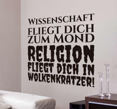 Wandtattoo Wissenschaft Religion