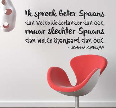 Muursticker citaat Johan Cruijff Spaans