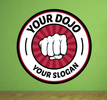This customisable sticker featuring clenched and extended fist can be personalised to read both the name and slogan of your dojo