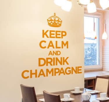 adesivo murale Keep Calm con la frase in inglese Keep Calm and Drink Champagne,ideale per rendere speciali i momenti di festa.