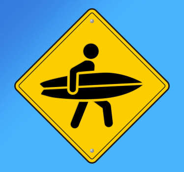 Surfare skylt vägg klistermärke