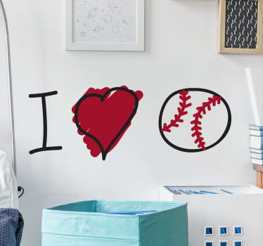 "I love baseball wall sticker. This sports sticker is perfect for any baseball fans. The sticker consists of the phrase ""I love baseball"""