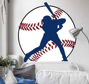 Dekoracyjna naklejka z sylwetką bejsbolisty