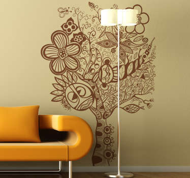 Sticker decorativo albero hippie