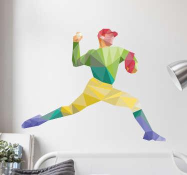 Geometrinen pesäpalloilija seinätarra