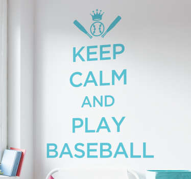 Keep calm wall sticker. If you love playing baseball, then this sticker was made for you.