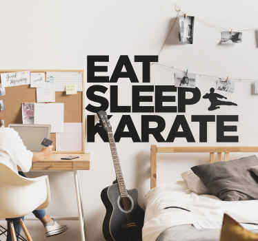 "The wall sticker consists of the text ""Eat, Sleep, Karate"" with a silhouette figure carrying out a flying kick."
