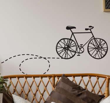 Muursticker fiets met stippellijntje