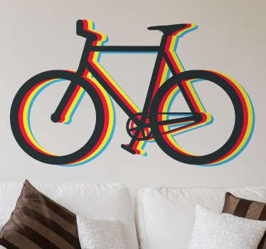 Muursticker fiets meerkleurig